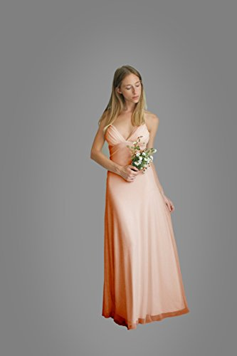 Women's Prom Pink Dress, Bridesmaid Evening Dress, Maxi Long Dress for Wedding, Chiffon Classic Lycra Gown by Guy Sharon