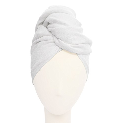 Microfiber Hair Turban (Aquis - Original Hair Towel, Ultra Absorbent & Fast Drying Microfiber Towel For Fine & Delicate Hair, White (19 x 39-Inches))