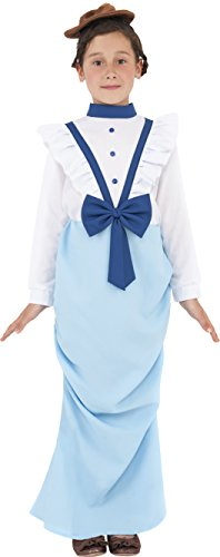 Smiffy's Children's Posh Victorian Girl Costume, Dress & Hat, Ages 10-12, Size: Large, Color: White and Blue, Ages 10-12, Size: Large, 38638