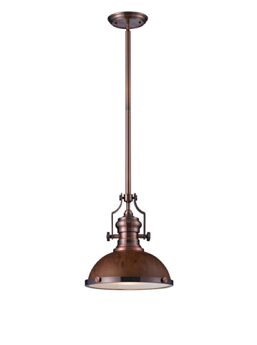 1-Light Pendant with Burl Wood Shade, 13 by 14-Inch, Antique Copper Finish (Burl Finish Wood)