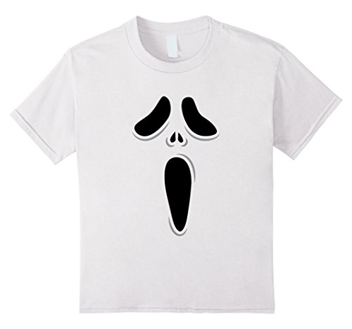 [Kids Ghost Scream Face Halloween T-Shirt 12 White] (Scream Classic Ghost Face Child Costumes)