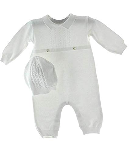 Baby Boys White Knit Coverall Set with Cap (Newborn)