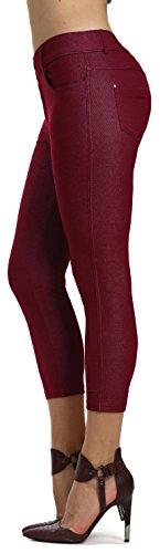 (Prolific Health Women's Jean Look Jeggings Tights Slimming Many Colors Spandex Leggings Pants Capri S-XXXL (X-Large, Burgundy Capri) )