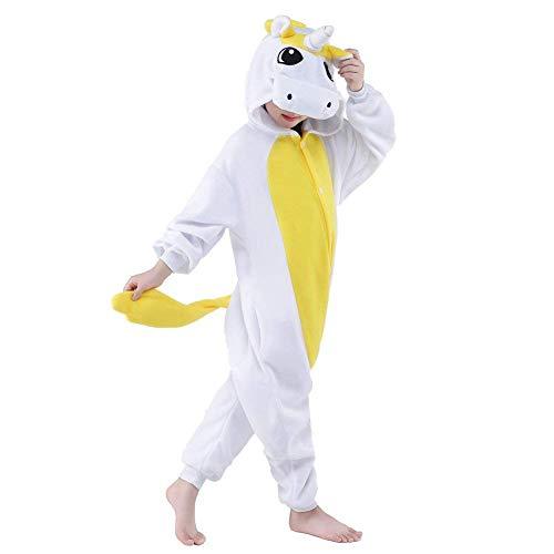 Kids Unicorn Onesie Pajamas Christmas Halloween Cosplay Costume (Golden Unicorn,5-Height 41-46