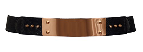 EVogues Plus Size Gold Metal Mirror Front Studded Elastic Fashion Belt Black - One Size Plus