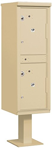 (Salsbury Industries 3302SAN-U Outdoor Parcel Locker with Pedestal, 2 Compartments, USPS Access, Sandstone)