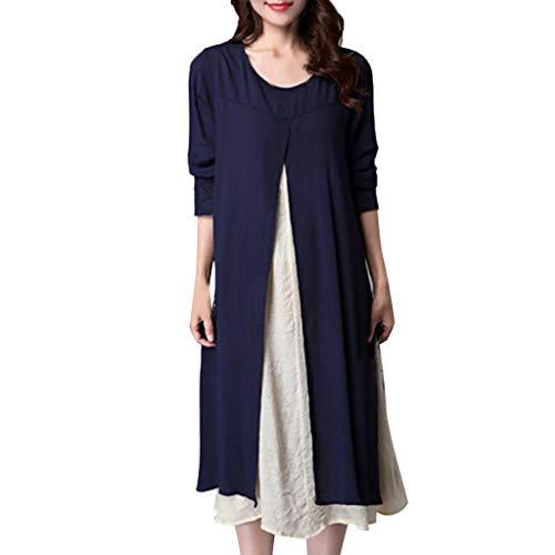 HYIRI Women's Soft Home Dress O-Neck Long-Sleeved Loose Plus Size Dress Blue from HYIRI