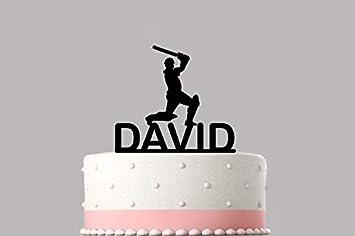 9cf228f2c3c4c Cricket Player Personalised cake topper acrylic, NAME Happy Birthday ...