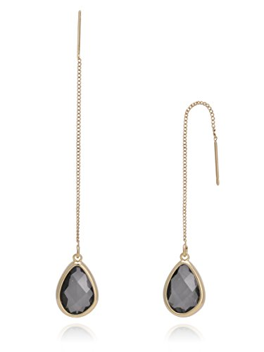 BONALUNA Crystal Sparkled Tear Drop Stone And Yellow Gold Plated Metal Chain Pierced Long Earrings Chain Yellow Earrings