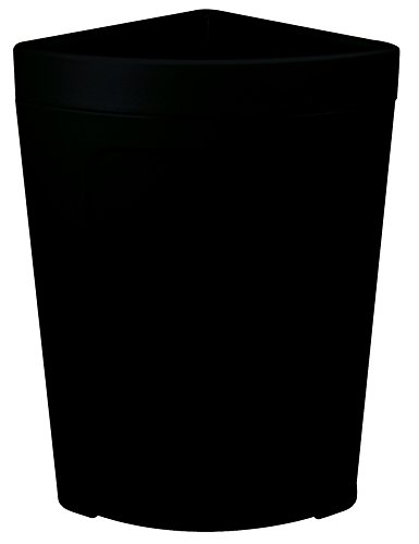 CMC 8324BK Corner Round Black Plastic Rim Receptacle with Unique Bag Holder, 21 gallon Capacity (Case of 2)