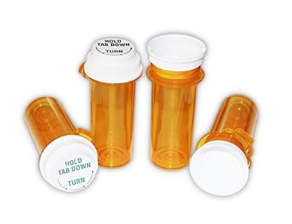 Sponix BioRx Amber Touch Down Prescription Pharmacy Vials - 20 Dram - Push Down Caps - Reversible Caps - Pack of 24 (Medicine & Pill Container, Pharmacy Bottle, Pharmacy Container, Plastic Container)