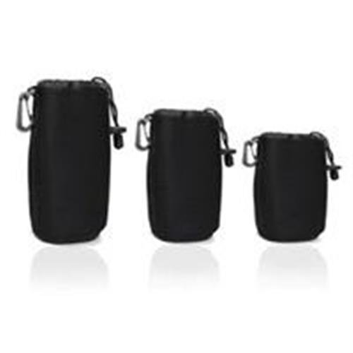 Cosmos ¨ Black 3 pcs DSLR camera Drawstring Soft Neoprene Lens Pouch Bag Cover for Sony Canon Nikon Pentax Olympus