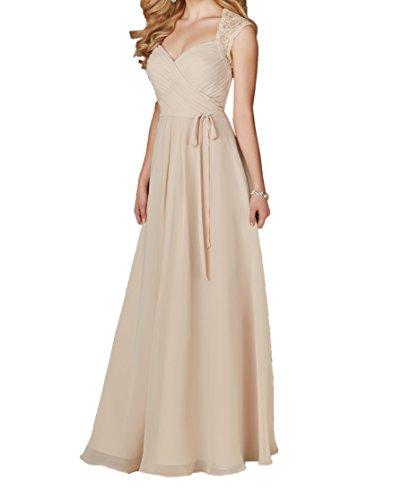 Chiffon Braut La Navy Lang Champagner Partykleider Brautjungfernkleider Abendkleider Anmutig Marie Spitze Blau Linie A XrX5wqU