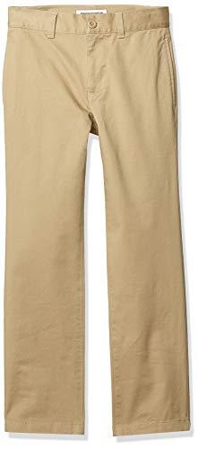 - Amazon Essentials Boy's Straight Leg Flat Front Uniform Chino Pant, Khaki, 12(H)