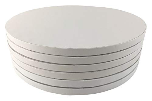 Cake Board Round Plates, 12 Inch Circle White Drum, Qty 6, Disposable Base Tray Platter, 1/2