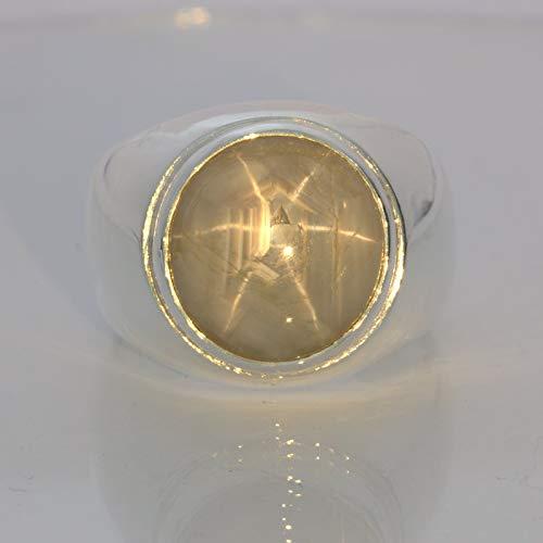 Gray Star Sapphire Burmese 16 carat Gemstone Silver Gents Ring Design 52 size 11