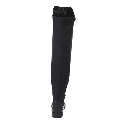 Bambus-Monterey-05 Frauen Stretch-Seite Reißverschluss Low Heel Overknee-Stiefel Schwarz Pu