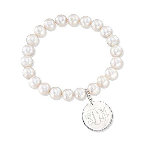 (Ross-Simons Plain Sterling Silver Disc Charm On 8-8.5mm Cultured Pearl Bracelet )