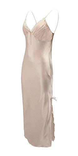 EPLAZA Women Plain Satin Chemise Long Slip Night Dress Gown Sleepwear Loungewear (Large, (Sexy Satin Gown)