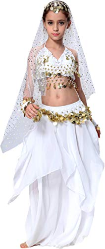 Kids Genie Costume for Girls Arab Princess Belly Dance School Outfits 4T 4 5 6 7 8 10 12 14 16 L S White -