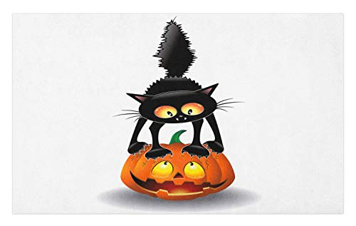 Ambesonne Halloween Doormat, Black Cat on Pumpkin Drawing Spooky Cartoon Characters Halloween Humor Art, Decorative Polyester Floor Mat with Non-Skid Backing, 30 W X 18 L Inches, Orange -