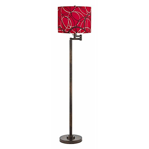 Swing Arm Lamp with Red and Grey Shade in Bronze Finish (Red Finish Floor Lamps)
