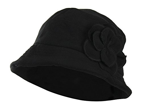 Black Packable Wool Blend Winter Cloche Bucket Hat w/ Flower Accent for (Accent Wool Blend)