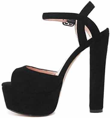 c70caf87a91d5e onlymaker Women s Platform Chunky High Heels Faux Suede Ankle Strap Peep  Toe Sandal Pumps Dress Party