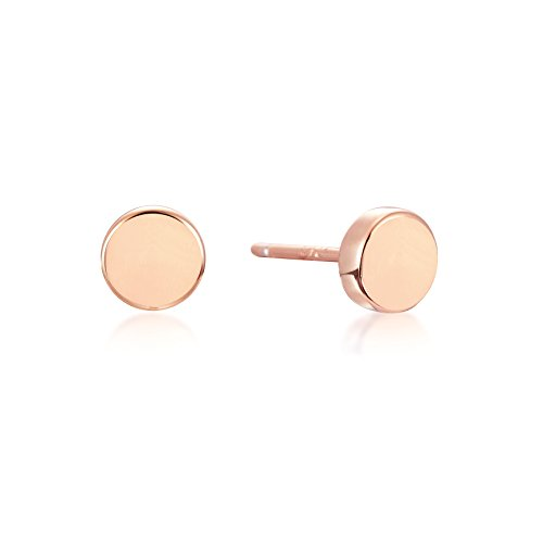 Rose Gold circle stud earrings - Everyday Cute Earrings in Rose Gold over Sterling Silver
