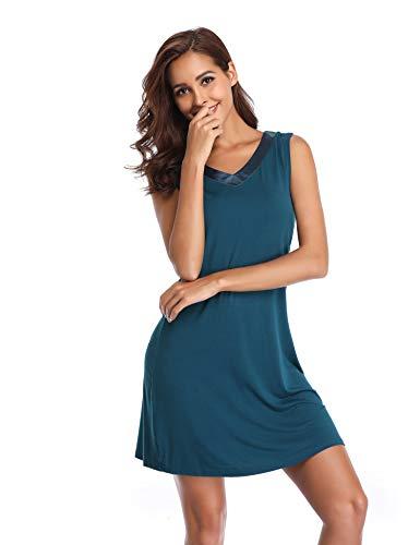 Lusofie In Scuro Camicia Blu Per Notte Collo Senza Maniche Donna A Da Biancheria Sottoveste V Con Raso FRrqnw7aFx