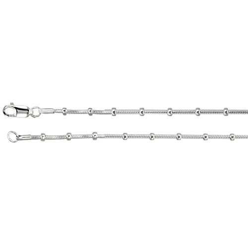 Sterling Silver 0.04-inch Solid Beaded Snake Chain Necklace- 16 inches with Lobster Clasp