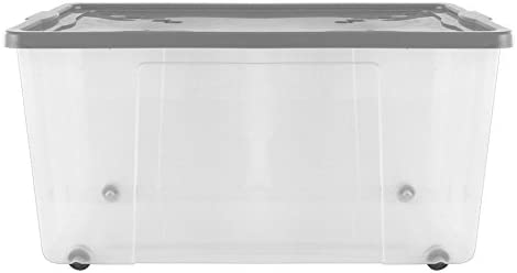 Grande 45 litros Heavy Duty fuerte plástico transparente caja de ...