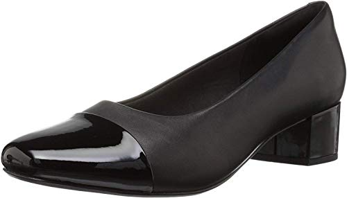 Clarks Women's Chartli Diva Pump, Black Leather/Synthetic Combo, 080 M US