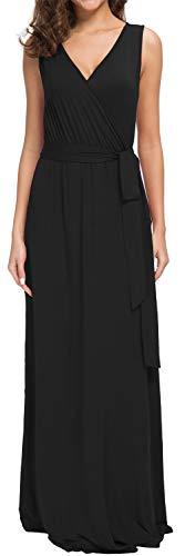 POKWAI Women Sleeveless Maxi Dress Casual Long Dresses Beach Dresses Bohemian Dresses(Black ()