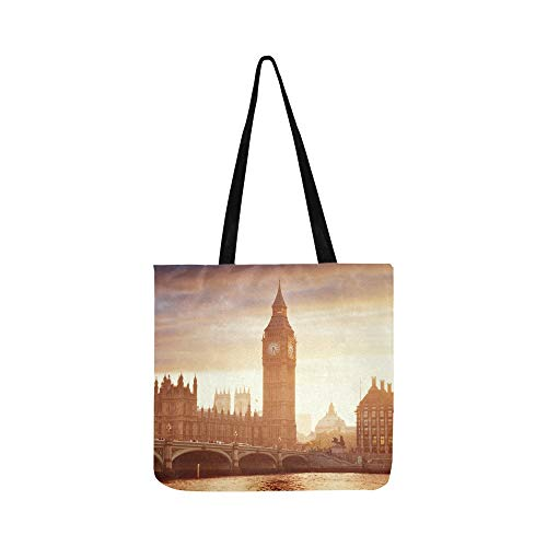 London At Dusk London Eye City Hall Canvas Tote Handbag for sale  Delivered anywhere in USA