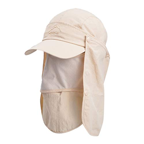 iNoDoZ Summer Outdoor Sun Hat for Man Women Protection Bucket Boonie Cap Solid Adjustable Fishing Hat Beige