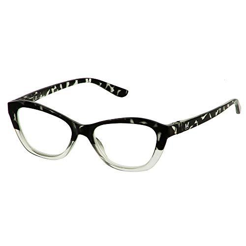 Bunny Eyez Abby Wearable, Tilt-able, Flip-able Women's Reading Glasses - Grey Tortoise/Crystal (+1.50)
