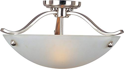 Maxim 21261FTSN Contour 2-Light Semi-Flush Mount, Satin Nickel Finish, Frosted Glass, MB Incandescent Incandescent Bulb , 60W Max., Dry Safety Rating, Standard Dimmable, Glass Shade Material, Rated Lumens