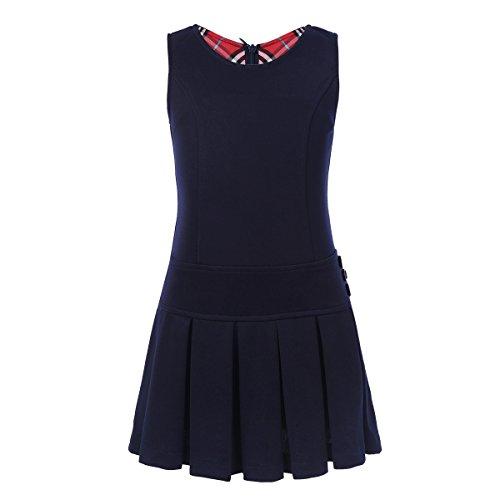 YiZYiF Girls' Kids' Stretchy Pleated Hem Durable School Uniform Jumper Dress Skirt Size 2-9 Navy Blue - Dress Uniform Jumper