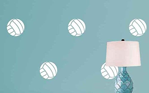 Volleyball Pattern - White - 24 Volleyballs - Sports Vinyl Wall Decal for Homes, Offices, Kids Rooms, Nurseries, Schools, High Schools, Colleges, Universities, Interior Designers, Architects, Remodelers