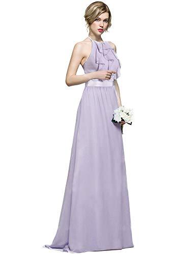Neck Chiffon Dress Ruffle (Ever-Pretty Women Ruffles Floor Length Halter Backless Neck Holder Bridesmaids Dress 10US Dusty Lilac)