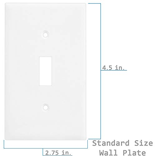 Enerlites 8811-W-10PCS Toggle Wall Plate, Standard Size 1-Gang, Unbreakable Polycarbonate, White (10 Pack) by ENERLITES (Image #5)