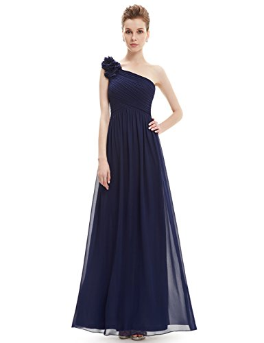 Ever-Pretty Womens One Shoulder Long Military Ball Dress 12 US Navy Blue