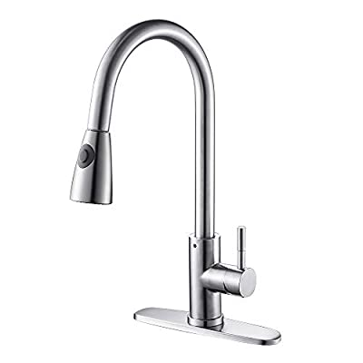 Hotbestus Single Handle Commercial Kitchen Faucet with Multifunction Pull Down Spray Head Finish Stainless Steel High Arc Brushed Nickel Pull out Kitchen Faucet …