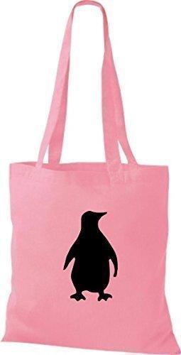 Shirtinstyle - Bolsa de algodón, diseño de pingüino - classic pink