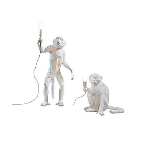 (ZLL Lamp Monkey White Resin Light Home Decoration Animal Light,Standing Monkey Light + Sitting Monkey Light—Combined Sales (1 Pair))