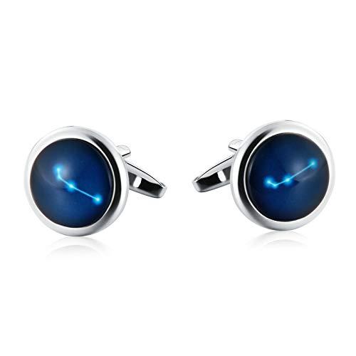 (Aooaz Jewelry Men Cufflinks Oval Luminous Constellation Stone Aries Cufflinks Silver Blue)