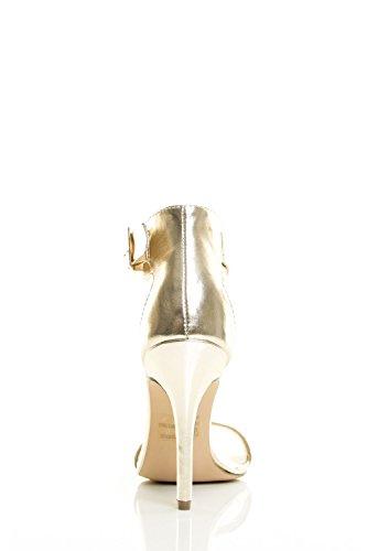 Punta Aperta Tacco A Spillo Donna Breckelles Con Cinturino Alla Caviglia Suola Singola Sandalo Champagne
