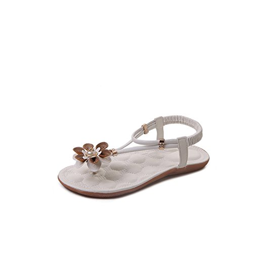 Special-Shop Elastic Tight Beach Shoes Soft Bottom Clip Toe Beads Sandals Flowers Herringbone Sandals,White,40