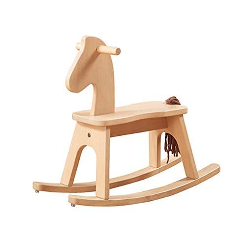Kinder Massivholz Trojaner Schaukelpferd Stuhl, Spielzeug Baby Schaukelpferd Abnehmbare Schaukelpferd (Farbe   Wood Farbe, Größe   65x24x54CM) Wood Farbe 65x24x54CM